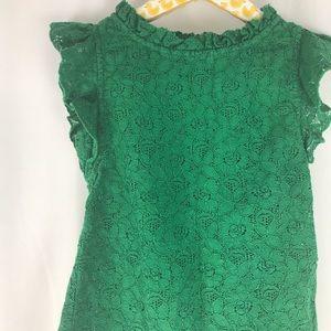 PEEK Toddler Floral Green Ruffle Dress